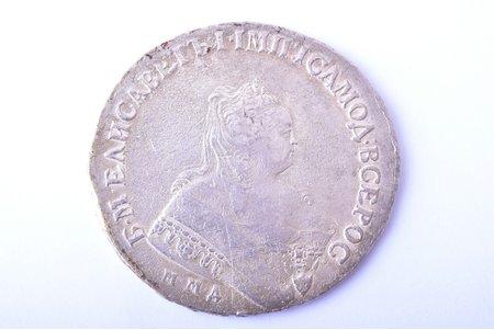1 ruble, 1749, MMD, silver, Russia, 25.78 g, Ø 40.1 - 42.5 mm, VF