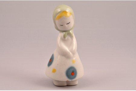 figurine, Girl with headscarf, porcelain, Riga (Latvia), USSR, Riga porcelain factory, the 50ies of 20th cent., 7.8 cm