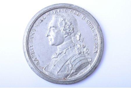 table medal, Courland, Maurice of Saxony, Latvia, Ø 55.6 mm, tin