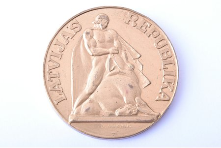 5 lats, 1991, test coin, inventory number on the edge, bronze (tombac), Latvia, 26.89 g, Ø 38 mm, created by J. Mikāns
