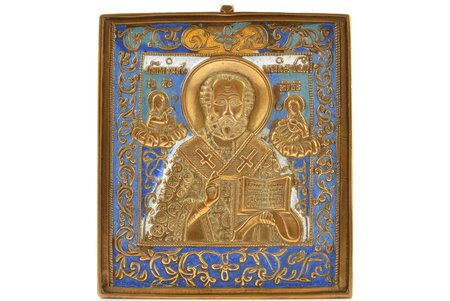 icon, Saint Nicholas the Wonderworker, copper alloy, 5-color enamel, Russia, the border of the 19th and the 20th centuries, 11.1 x 9.6 x 0.4 cm, 305.70 g.