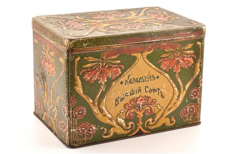 candy box, Caramel, top grade, tin, Russia, the beginning of the 20th cent., 17.2 x 24.2 x 16.6 cm