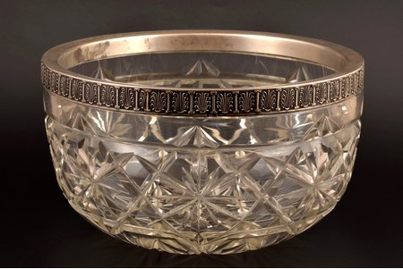 fruit dish, silver, 84 standart, crystal, 1908-1917, St. Petersburg, Russia, Ø 24 cm, h 13.8 cm