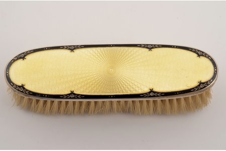 a clothes-cleaning brush, silver, 925 standart, enamel, engraving, total weight of item 124.95g, Birmingham, Great Britain, 17.5 x 4.9 cm