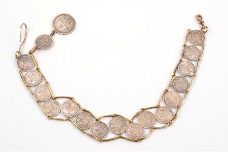 часовая цепь, из монет 25 копеек (1855 год), 10 копеек (1858, 1859, 1860, 1861, 1862, 1863 года), Российская империя, 2-я половина 19-го века, серебро, 51.23 г, длина изделия 37 см