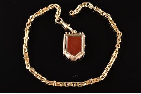 pulksteņa ķēde ar breloku - šatlēna daļa, sudrabs, 21.87 g, 20. gs. sākums, Eiropa(?), izstrādājuma garums - 37.2 cm, breloka izmērs - 3.2 x 2.2 cm