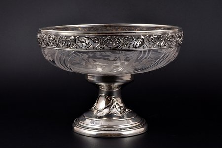 fruit dish, silver, 950 standart, with glass, 1894-1911, (total weight of item) 882.15g, Gustave Veyrat, Paris, France, Ø - 20 cm, h - 14.6 cm cm