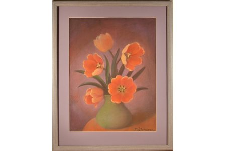 Zhilvinska Jadviga (1918-2010), Tulips, the 70-80ies of 20th cent., paper, pastel, 46.5 x 35.5 cm