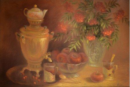 Nilova Olga, Still life with Samovar, paper, pastel, 27 x 82.5 cm