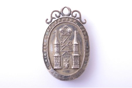 badge, 50th anniversary of the Riga Firemen society, 1865-1915, silver, gold, Latvia, Russia, 1915, 40.5 x 25.8 mm, 19.90 g