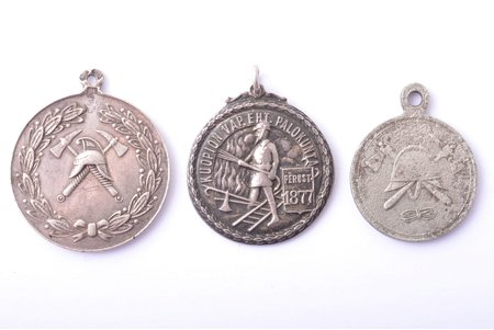 set of 3 firemen jettons: Estonia (silver, 875 standard, 20ties-30ties of the 20th cent.), Finland (silver, 830 standard, 1946-1956), Belostok (Imperial Russia, the border of the 19th and 20th cent.), 32 x 27.8 / 28.2 x 25.7 / 27.8 x 22.3 mm