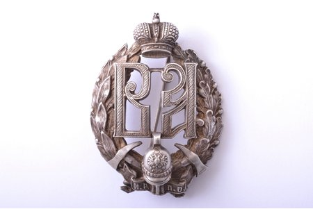 badge, Imperial Society of Firemen, silver, 84 standart, Russia, beginning of 20th cent., 61.4 x 44.8 mm, 38.90 g