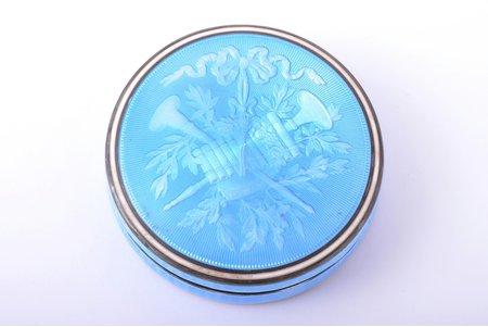 powder-box, silver, 800 standart, enamel, 63.30 g, France, Ø 6.2 cm