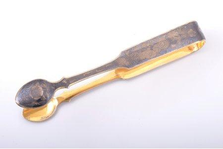 sugar tongs, silver, 84 standart, niello enamel, gilding, 1854, 54.95 g, Michael Koshkov, Veliky Ustyug, Russia, 15.5 cm