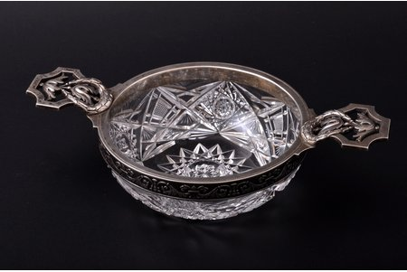 "candy-bowl, silver, 84 standart, crystal, 1908-1917, ""Fabergé"", Moscow, Russia, 21.5 x 12.5 cm, h 5.5 cm"