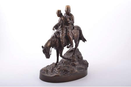 "sculpture, ""Cossack couple on horseback"", by Albert Moritz Volf (1854‑1923), bronze, h 29.6 cm, weight 5350 g., Russia, the end of the 19th century"