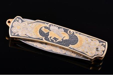 folding knife, Zlatoust, gold plated, steel, Russian Federation, 2006, 18 / 10.6 cm