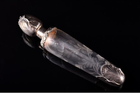 perfume bottle, silver, 950 standart, glass, total weight of item 79.20g, France, 16.5 cm