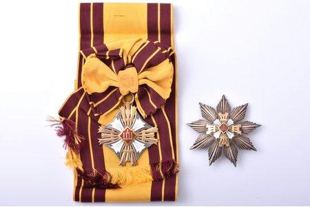 Lietuvas Dižkunigaiša Ģedimina ordenis, 1. pakāpe, sudrabs, emalja, Lietuva, 20.gs. 30ie gadi, apbalvojums pēc 1930. g. ar lielu vienpusēju krustu; krusta izmērs 78.2 x 64 mm, zvaigznes izmērs 78 x 77.2 mm