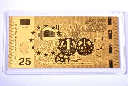 """gold ingot in the shape of a banknote, """"Währungs-, Wirtschafts- und Sozialunion"""", 2015, gold, Germany, 0.5 g, Ø 90 x 43 mm, with certificate, 999 standart"""