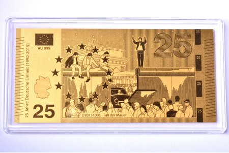 """gold ingot in the shape of a banknote, """"Fall der Mauer"""", 2015, gold, Germany, 0.5 g, Ø 90 x 43 mm, with certificate, 999 standart"""