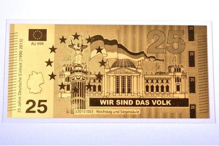 """gold ingot in the shape of a banknote, """"Reichstag und Siegessäule - Wir Sind Das Volk"""", 2015, gold, Germany, 0.5 g, Ø 90 x 43 mm, with certificate, 999 standart"""