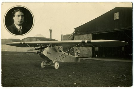"""photography, constructor N. Pulins at his aircraft 3A """"Ikars"""", Latvia, 20-30ties of 20th cent., 14x9 cm"""