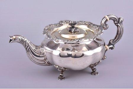 small teapot, silver, 84 standart, gilding, 1843, 798.75 g, by Adolf Shper, St. Petersburg, Russia, h 12.5 cm