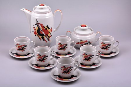 "service, ""Constructivism"", for 6 persons (14 items), porcelain, Minsk porcelain and faience factory, USSR, 1968-1983, saucer Ø11.8 cm, cup height 6.6 cm, teapot height 19.7 cm"