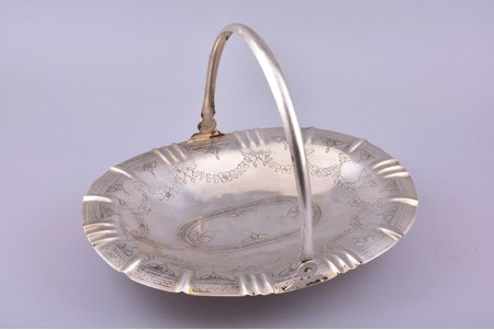 biscuit tray, silver, 84 standart, engraving, 1892-1900, 391.20 g, by Ilya Shchetinin, Moscow, Russia, 28.2 x 20.5 cm, h (with handle) 20 cm