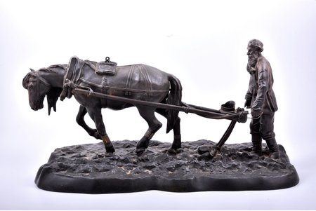 "figurative composition, ""Count Tolstoy Plowing"", model by sculptor Solovyova Anna Andreevna, cast iron, 25.5 x 49 x 23 cm, weight 9500 g., Russia, Kasli, 1906, moulder I. Kozlov; defects: horse's legs and screw on the boot is missing, missing horse's and plow's harness, missing handles of plow, missing handle of spade"