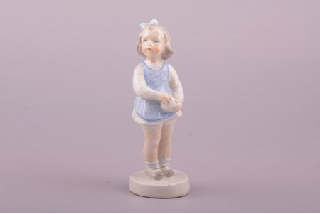 """figurine, """"A Girl with a Ball"""", porcelain, Riga (Latvia), USSR, sculpture's work, Riga porcelain factory, molder - Leja Novozeneca, the 50ies of 20th cent., 11 cm, exhibition piece with inventory number"""