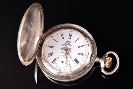 """карманные часы, """"Петровские"""", Российская империя, Швейцария, серебро, 84, 875 проба, 124.85 г, 7.4 x 5.9 см, исправные"""