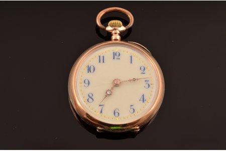 "pocket watch, ""Remontoir"", Switzerland, gold, metal, enamel, 585 standart, 23.07 g, 4 x 3.2 cm, 27 mm, in order"
