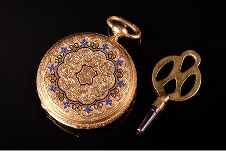 kabatas pulkstenis, zelts, emalja, 18 K prove, 22.29 g, 4 x 2.95 cm, 29.5 mm, ar atslēgu
