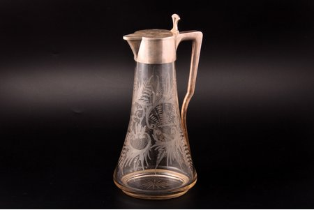 "jug, silver, 84 standart, engraving, gilding, glass, 1896-1907, ""Grachev Brothers"", St. Petersburg, Russia, h 29.8 cm, chip at the base, crack under the neck (not visible from outside)"