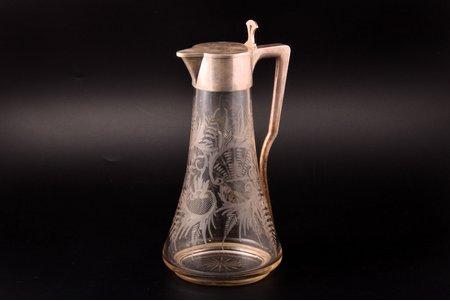 """krūka, sudrabs, 84 prove, māksliniecisks gravējums, apzeltījums, stikls, 1896-1907 g., """"Brāļi Gračovi"""", Santkpēterburga, Krievijas impērija, h 29.8 cm, nošķēlums pie pamatnes, plaisa zem kakliņa (no ārpuses nav redzama)"""