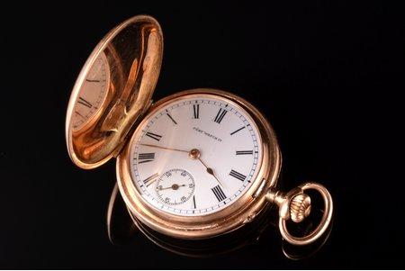 "pocket watch, ""Pery Watch Co"", Russia, Switzerland, gold, 56, 14 K standart, 25.83 g, 4.6 x 3.3 cm, 33 mm, in order"