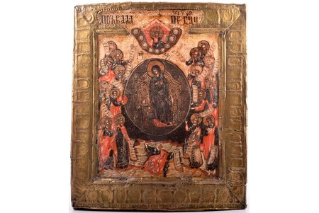 icon, Praise to Theotokos (Theotokos of Blachernae), board, painting, metal, Russia, the border of the 18th and the 19th centuries, 30.3 x 25.7 x 3.2 cm