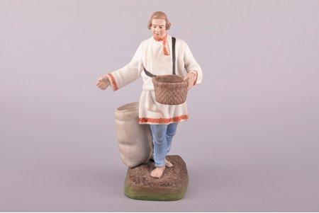 statuete, Sējējs, porcelāns, Krievijas impērija, Gardnera manufaktūra, 17.2 cm, 1 mm pirksta gala restaurācija