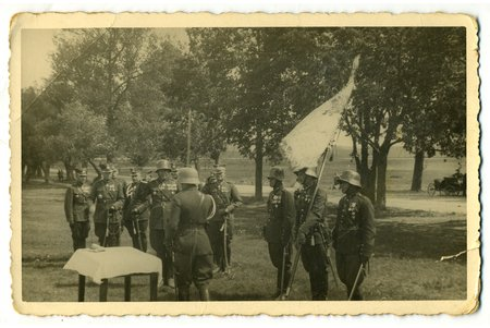 photography, Latvian Army, giving the oath, Latvia, 20-30ties of 20th cent., 13,8x8,8 cm
