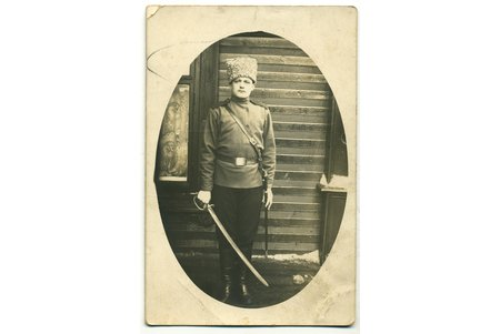 photography, soldier with a sword, Russia, beginning of 20th cent., 13,8x9 cm