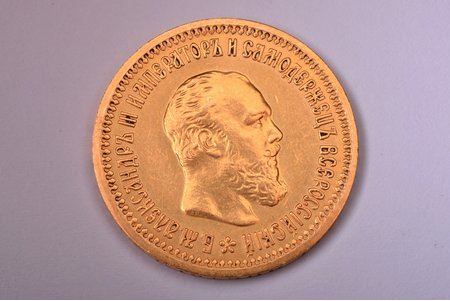 5 rubles, 1889, AG, gold, Russia, 6.46 g, Ø 21.6 mm, AU, XF