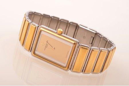 """rokas pulkstenis, """"Vacheron Constantin"""", Šveice, zeltījums, 18 K prove, tērauds, 2.4 x 1.9 cm, ar oriģinālo kasti"""