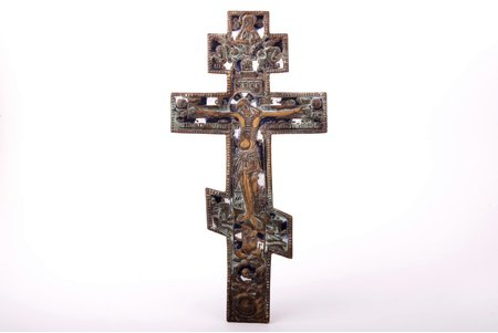 cross, The Crucifixion of Christ, Ural, copper alloy, 2-color enamel, Russia, the 2nd half of the 19th cent., 34.1 x 17.1 x 0.6 cm, 574.15 g.
