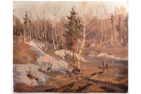 "Kalvāns Vitalijs (1909-1965), ""The Last Snow"", carton, oil, 40 x 50 cm"