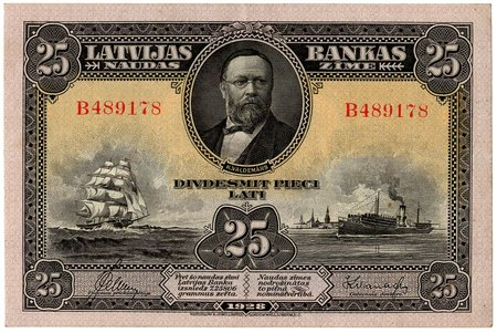 25 lati, banknote, 1928 g., Latvija, XF