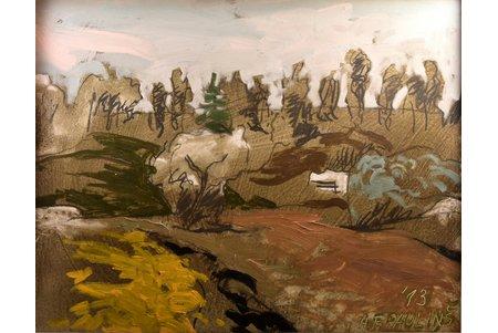 """Pauliņš Alberts Francisks (1948), """"At the River Imula"""", 2013, carton, oil, 48 x 61 cm"""