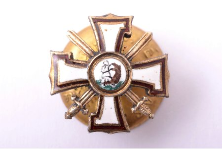 miniature badge, the Military Order of the Bearslayer, Latvia, 20-30ies of 20th cent., 16.2 x 16.2 mm