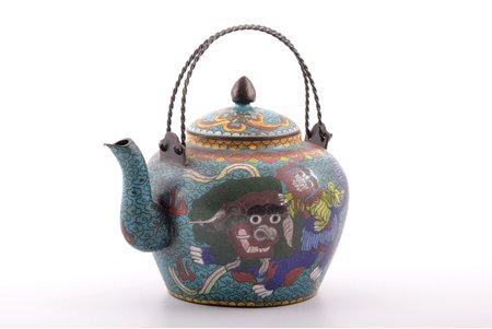 teapot, metal, enamel cluazone, China, the 19th cent., weight 556.25 g, height (without handles) 14 cm
